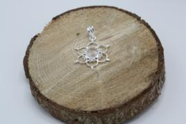 Hanger Lotus 925 zilver met Rozenkwarts 3 cm