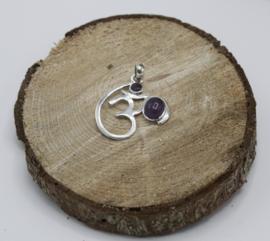 Ohm hanger 925 zilver met Amethist 3,5 cm