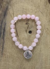 Armband Rozenkwarts elastisch met Boeddha 8 mm