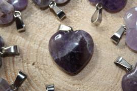 Edelstenen hanger hart Amethist