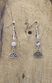 Oorbellen Chevron Amethist/bergkristal met lotus