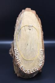 Lederen halsketting met karabijnslotje geel 45 cm