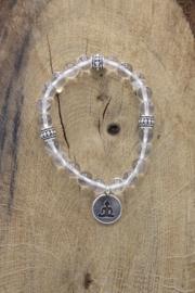 Armband Bergkristal elastisch met Boeddha 8 mm