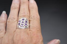 Ring Bloem des Levens sterling zilver Amethist verstelbaar