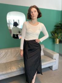 Pinstripe ruffle skirt