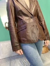Brown leather blazer