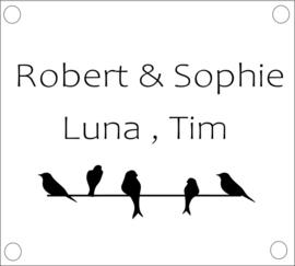 naambordje vogeltjes