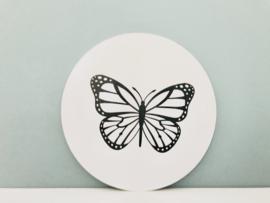 Muurcirkel wit vlinder