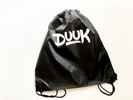 Zwarte polyester gymtas met naam