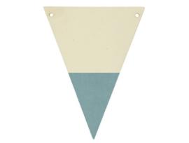 houten vlag blauw met letter