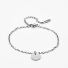 Dangle disc bracelet | basic chain | Zilver