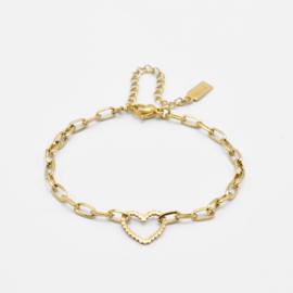 Chunky heart bracelet | Goud