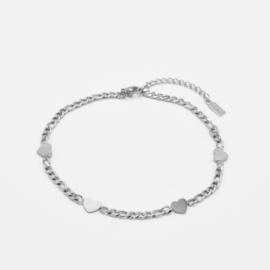Chunky heart anklet | Zilver