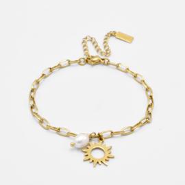 Sun & pearl bracelet | Goud