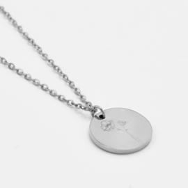 Birthflower necklace   1 flower   Zilver