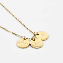 Name coin necklace | 3 coins | Goud