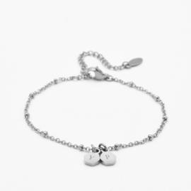 Initial hexagon bracelet | 2 initials | beaded chain | Zilver