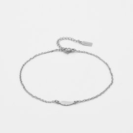 Tiny feather anklet   Zilver