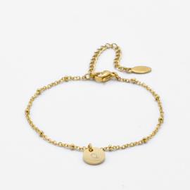 Initial disc bracelet | 1 initial | beaded chain | Goud