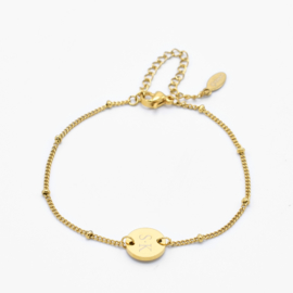 Single disc bracelet | gourmet beaded chain | Goud