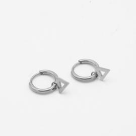 Open triangle hoops | Zilver