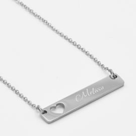 Bar necklace heart   Zilver
