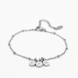 Initial hexagon bracelet | 3 initials | beaded chain | Zilver