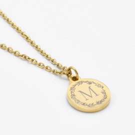 Initial wreath necklace | Style 1 | Goud
