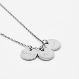 Name coin necklace   3 coins   Zilver
