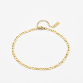 Figaro ankle bracelet   Goud