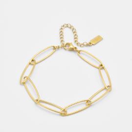 Large oval chain bracelet | goud