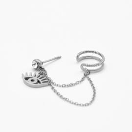 Eye chain ear cuff | Zilver
