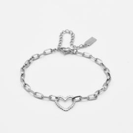 Chunky heart bracelet | Zilver