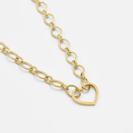 Chunky heart necklace | Goud