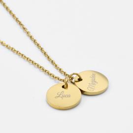 Name coin necklace | 2 coins | Goud