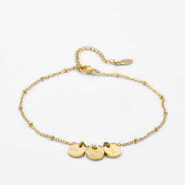 Initial ankle bracelet disc | beaded chain | 3 initials | Goud