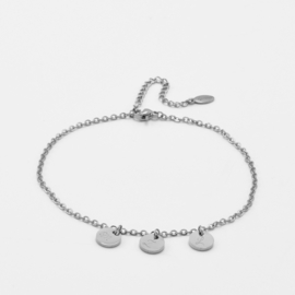 Initial ankle bracelet disc   basic chain   3 initials   Zilver