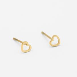 Open heart studs | goud