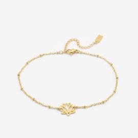 Lotus flower ankle bracelet   Goud