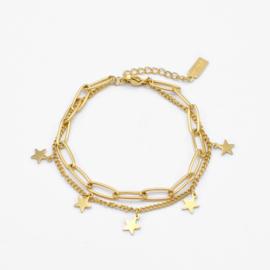 Paperclip & star bracelet | Goud