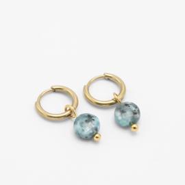 Round blue stone hoops | goud