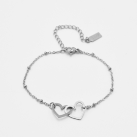 Double heart bracelet | Zilver