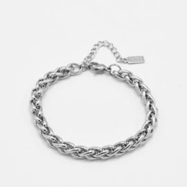 Braided bracelet 6 mm | silver
