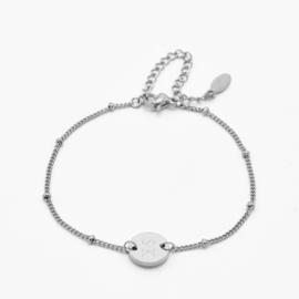 Single disc bracelet | gourmet beaded chain | Zilver