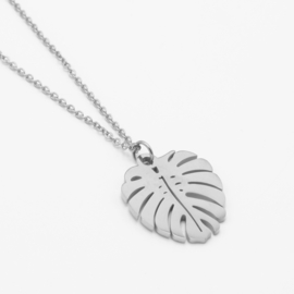 Large monstera necklace | Zilver