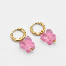 Pink butterfly bead hoops   Goud