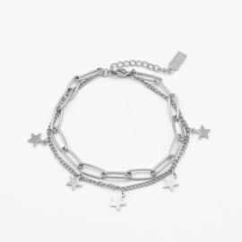 Paperclip & star bracelet | Zilver
