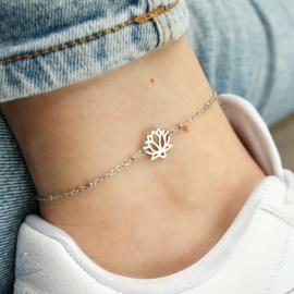 Lotus flower ankle bracelet | Zilver