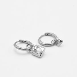 Lock & heart hoops   zilver
