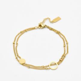 Double bracelet circles | Goud